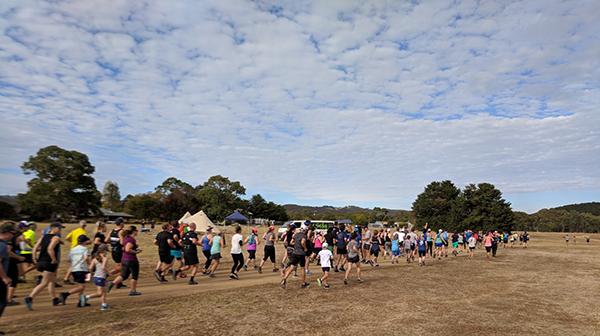 Large group running at Myponga