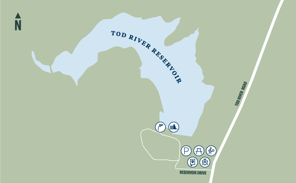 A map showing the Tod River Reservoir Reserve. The reservoir can be accessed via Reservoir Drive, off Tod River Road. Parking, tennis and picnic facilities are available on Reservoir Drive, with a lookout spot on the reservoir.
